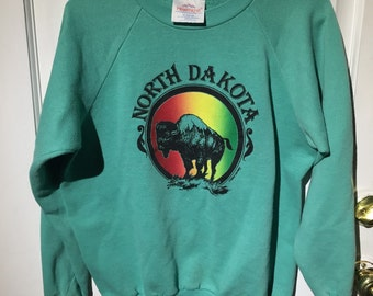 North Dakota sweatshirt with amazing buffalo graphic