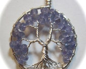 Tanzanite Gemstone Tree of Life all made with Fine Silver, Sterling Silver Rolo Chain, Tanzanite Necklace, Tanzanite Jewelry