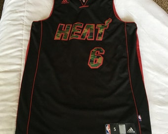Adidas Lebron James Miami Heat camo jersey mens small htf nice