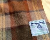 Vintage Wool Scarf Harris Tweed, with brown, tan, and grey colors
