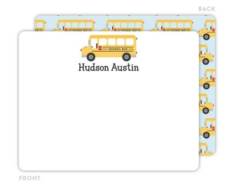 School Bus Note Cards - Personalized Flat Note Cards - School Bus Notecards - Kids Stationery - Children Stationery - Thank You Cards