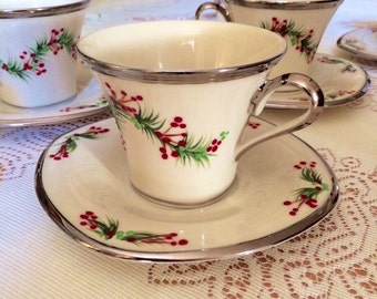 Christmas holiday greenery design hand painted on Lenox cup and saucer set