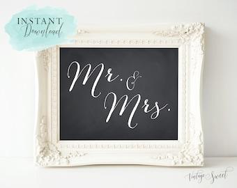 "Instant Download: ""Mr. & Mrs."" Sign by Vintage Sweet"