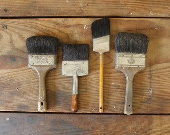 Vintage Paint Brushes Old Brush Collection of 4 Display