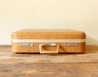Retro Suitcase 1960s Caramel Brown Vintage Luggage