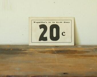 Authentic Antique Dime Store Price Tag Signs Paper Ephemera Card Stock