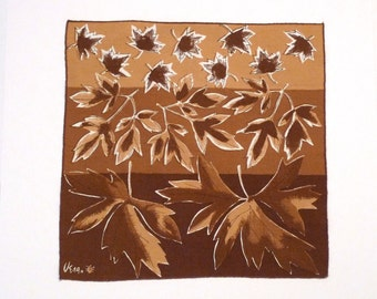 Vera Napkin Vintage Vera Neumann Cloth Napkin Autumn Leaves Napkin Brown Signed Ladybug kitchen bar crafting sewing 1970s orphan Fall Ruska