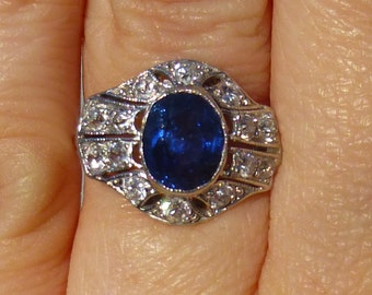 Art Deco Platinum, diamond and sapphire ring Engagment ring  HUGE 1.50 natural Sapphire  Bezel set  European cut diamonds   Over 2 Carats