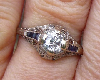 Antique Art Deco Ring Platinum Diamond Engagement Ring with Sapphires 1920s ONE OF a KIND  European cut diamond