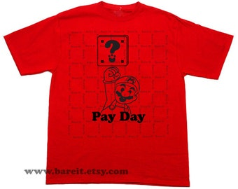 Coin Box and Mario Pay Day Nintendo Super Mario Bros Trendy Geek Humor Funny Tshirt Size Small Medium Large XLarge Color Red