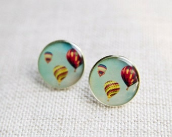 Hot Air Balloon Earrings / Studs / resin jewelry / photo jewelry / wearable art / statement earrings