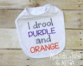 Clemson Tiger Baby I Drool Purple and Orange Embroidered Bib, Fabric Baby Coming Home Gift, Shower Gift, Clemson Baby Accessories