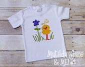 Easter Chick with Flower Children's Appliqued Shirt, Girls or Boys Appliqued Shirt, Personalized Free, Spring Chick Applique
