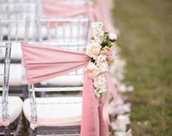 Chair Sashes Blush Pink Wedding Chair Sashes Chair Bows SatinPew Bows Party Bows Event Sold Individually