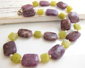 Vintage Green Prehnite Purple Lepidolite Gemstone Pearl Sterling Silver Necklace