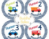 PERSONALIZED Baby Boy Monthly Stickers Planes Cars Trucks Baby Boy Month to Month Baby Sticker Month Decals Custom Baby Gift