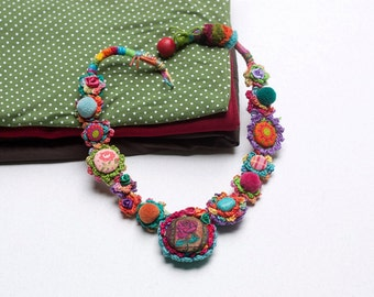 Rustic chunky necklace, OOAK colorful boho necklace, fiber art statement jewelry, crochet with fabric buttons and textile beads
