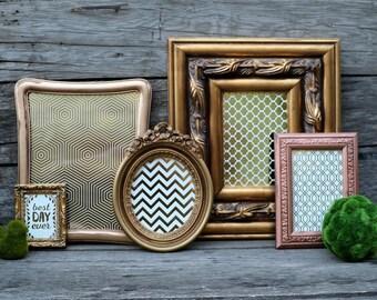 Set of 5 Gold Frames - Picture Frame Set - Nursery, Wedding, Home Decor - Wall Grouping - Gold, Copper, Bronze - Wall Decor - Mantel Decor