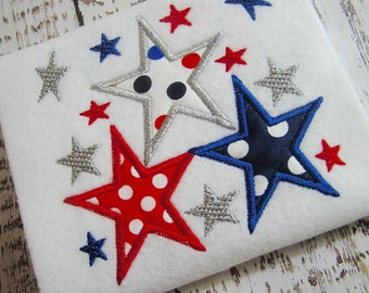 July 4th Appliqué star machine embroidery design, 4th of July Patriotic embroidery,  appliqué star design, 4th of July design, appliqué star