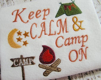 Keep Calm and Camp on machine embroidery design, embroidery design, tent embroidery, camping embroidery, campfire embroidery