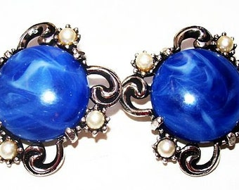 """Blue Pearl Earrings Marbled Glass Stones Silver Metal Clip On's 1.5"""" Vintage"""