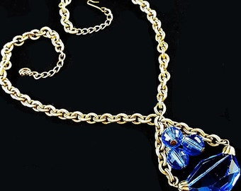 "Czech Blue Glass Pendant Necklace Gold Curb Chain Boho BIG 21"" Vintage"