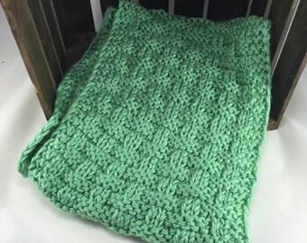 Basketweave Scarf Hand Knit Chunky Jade Green Washable Scarf