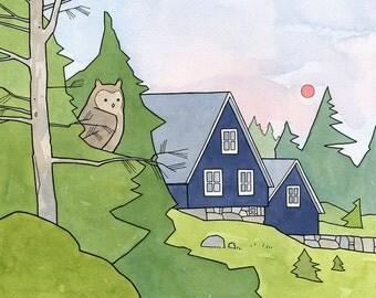 Woodland Cabin and Owl 8x10 Nursery Art Print