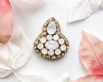 Bespoke Vintage Rhinestone Hand Beaded Gold Bridal Headpiece Pale Pink and Opal Blue