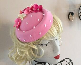 Pink Polka dot Wedding Races Hat Fascinator flower 50s 40s style