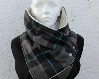 Mens cowl scarf. Unisex, Wide, Plaid wool blend, fake lamb fur, metallic snaps . Blanket scarf. Mens winter. Husband gift. gift for her