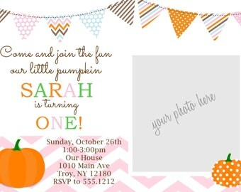 Personalized Pumpkin Birthday Party Invitation: Printable 4x6 or 5x7