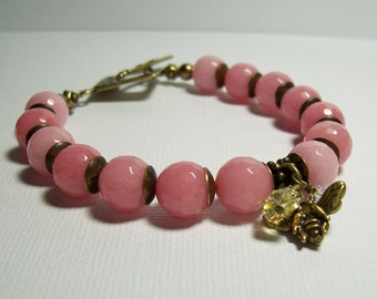 Pink Jade Bracelet. Bees and Flowers. Jade and Antiqued Brass. Pink and Brass Bracelet.