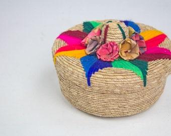 Decorative Woven Basket, Made in Mexico / Bohemian Decor / Jewelry Box / Boho Decor / Woven Basket / Remote Control Storage