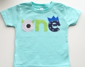 Monster Birthday Shirt First Ready to ship Birthday Green aqua Shirt photo prop