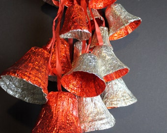 Vintage Red and Silver Foil Christmas Bells // 3 Sets of 6