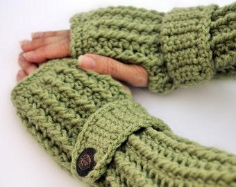 Grass green gloves, arm warmers, fingerless gloves, crochet arm warmers, texting gloves, hand warmers, wrist warmers, mittens, button gloves