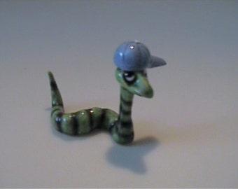 "Vintage miniature Hagen Renaker ""Homer"" the worm wearing baseball cap"