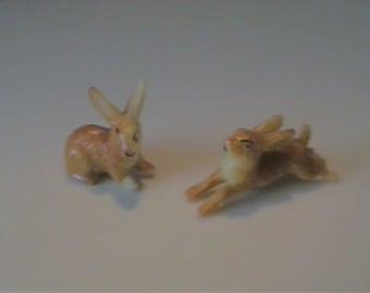 Two vintage miniature plastic bunny rabbits - Hong Kong