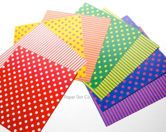 Colorful Origami pack, printed stripes origami sheets, polka dot origami paper, colourful variety patterns, paper craft supplies