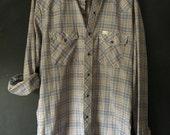 Vintage 70's Unisex Wrangler Lightweight snap plaid western shirt