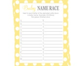 Yellow Baby Name Race Activity Polka Dot Shower Game Cards Instant Download Printable Fun Name Game A-Z Neutral Casual Sprinkle Party