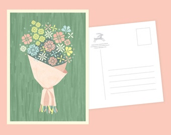 Crafty Flowers Postcard or Postcard Set - Inspired by Lithuania Series