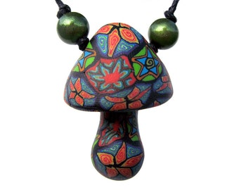 Mushroom pendant, millefiori tribal patterns, colorful stars and spirals designs, thin adjustable cord, handmade from polymer clay, OOAK