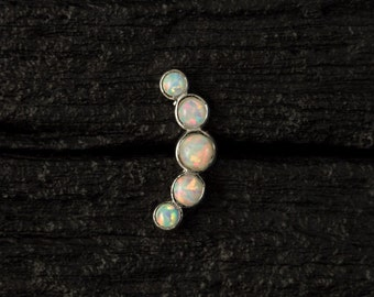 White Opal curved push in 16gauge bio flexible tragus / cartilage / conch piercing