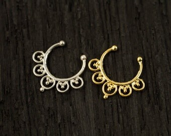 Sterling silver Fake Septum Ring, Gold plated Septum Ring,Clip On Septum (F3)