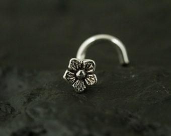 18gauge Oxidized flower nose screw/nose stud/nose ring
