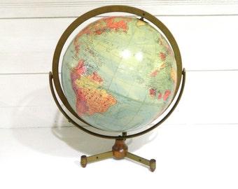 Vintage World Globe Replogle Stereo Relief