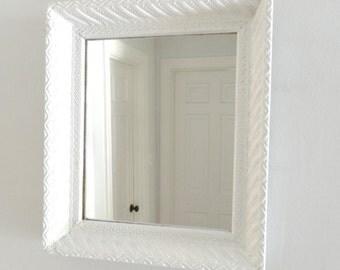 Vintage White Mirror Ornate Wood Frame Shabby Cottage Chic