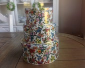 Vintage Tins with Floral Print Set of three graduated sizes